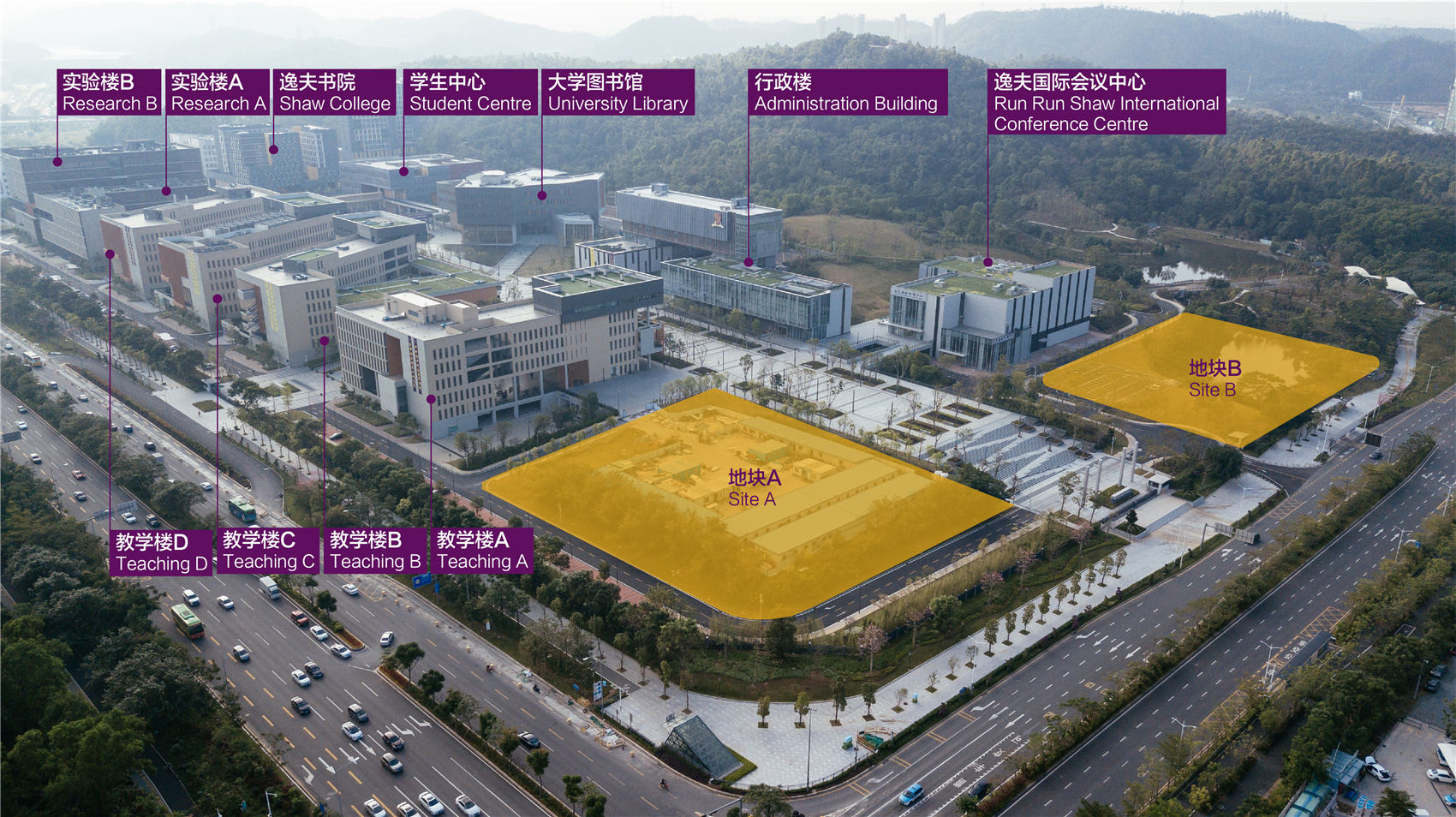 校园下园现状与地块A、B  Lower Campus Current Condition and Site A, B  ©有方